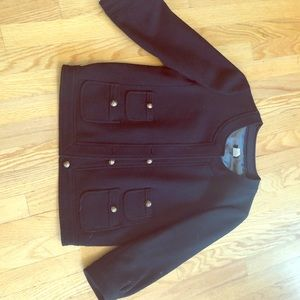 J. Crew wool black womens coat size 4